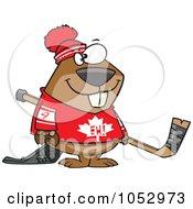 Royalty Free Vector Clip Art Illustration Of A Cartoon Hockey Beaver by toonaday
