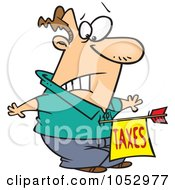 Royalty Free Vector Clip Art Illustration Of A Cartoon Man Being Struck With A Taxes Arrow