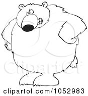 Royalty Free Vector Clip Art Illustration Of A Black And White Big Bear With His Hands On His Hips Outline