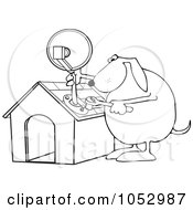 Royalty Free Vector Clip Art Illustration Of A Black And White Dog Attaching A Satellite To His House Outline by djart