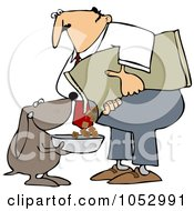 Royalty Free Vector Clip Art Illustration Of A Dog Holding A Bowl While His Master Pours Food Into It