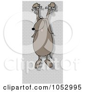 Royalty Free Vector Clip Art Illustration Of A Prisoner Dog Hanging On A Wall