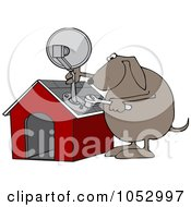 Royalty Free Vector Clip Art Illustration Of A Dog Attaching A Satellite To His House