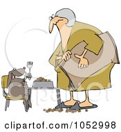 Royalty Free Vector Clip Art Illustration Of A Woman Feeding Her Hungry Dog At A Table
