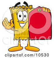 Yellow Admission Ticket Mascot Cartoon Character Holding A Yellow Sales Price Tag