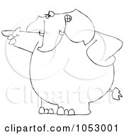 Royalty Free Vector Clip Art Illustration Of A Black And White Angry Elephant Pointing Outline