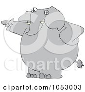 Royalty Free Vector Clip Art Illustration Of An Angry Elephant Pointing