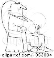 Royalty Free Vector Clip Art Illustration Of A Black And White Content Man Relaxing In An Armchair Outline