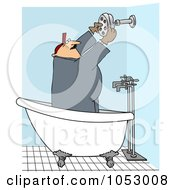 Royalty Free Vector Clip Art Illustration Of A Plumber Installing A Shower Head by Dennis Cox