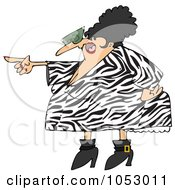 Royalty Free Vector Clip Art Illustration Of A Pointing Angry Woman In A Zebra Print Dress by djart
