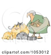 Royalty Free Vector Clip Art Illustration Of A Woman Feeding Her Hungry Fat Cats by djart
