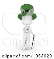 Royalty Free 3d Clip Art Illustration Of A 3d Ivory White Man Leprechaun Holding A Clover And Leaning On A Cane