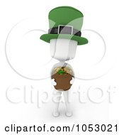 Royalty Free 3d Clip Art Illustration Of A 3d Ivory White Man Leprechaun Holding A Pot Of Gold