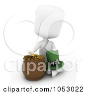 Royalty Free 3d Clip Art Illustration Of A 3d Ivory White Man Holding A Leprechaun Hat And Counting Gold