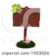 Royalty Free 3d Clip Art Illustration Of A Clover On A Blank St Patricks Day Board Sign