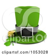 Royalty Free 3d Clip Art Illustration Of A 3d Leprechaun Hat With A Clover And Gold Coins by BNP Design Studio