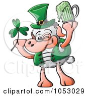 Royalty Free Vector Clip Art Illustration Of A St Patricks Day Sheep Holding A Clover And Beer by Zooco