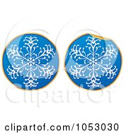 Royalty Free Vector Clip Art Illustration Of A Digital Collage Of Blue White And Gold Snowflake Stickers