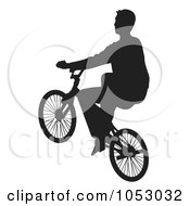 Royalty Free Vector Clip Art Illustration Of A Silhouetted Man Riding A Bike 3 by Any Vector