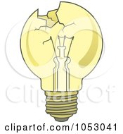Royalty Free Vector Clip Art Illustration Of A Broken Yellow Light Bulb by Any Vector