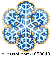 Royalty Free Vector Clip Art Illustration Of A Blue And Gold Snowflake Sticker