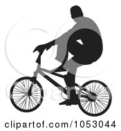 Royalty Free Vector Clip Art Illustration Of A Silhouetted Man Riding A Bike 2 by Any Vector