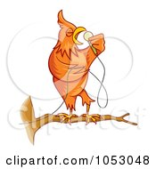 Royalty Free Vector Clip Art Illustration Of An Orange Singing Canary On A Branch