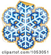 Royalty Free Vector Clip Art Illustration Of A Peeling Blue And Gold Snowflake Sticker
