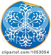 Royalty Free Vector Clip Art Illustration Of A Peeling Blue White And Gold Snowflake Sticker
