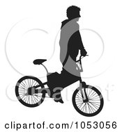Royalty Free Vector Clip Art Illustration Of A Silhouetted Man Riding A Bike 1 by Any Vector