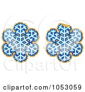 Royalty Free Vector Clip Art Illustration Of A Digital Collage Of Blue And Gold Snowflake Stickers