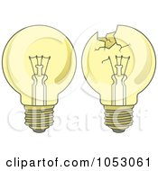Royalty Free Vector Clip Art Illustration Of A Digital Collage Of Yellow Light Bulbs by Any Vector