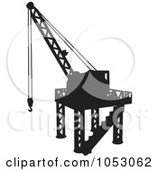 Royalty Free Vector Clip Art Illustration Of A Silhouetted Construction Crane 3
