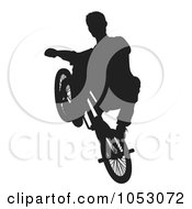 Royalty Free Vector Clip Art Illustration Of A Silhouetted Man Riding A Bike 4 by Any Vector