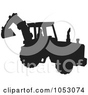 Silhouetted Bulldozer