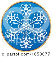 Royalty Free Vector Clip Art Illustration Of A Blue White And Gold Snowflake Sticker
