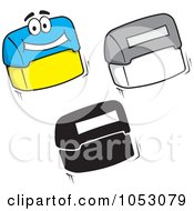 Royalty Free Vector Clip Art Illustration Of A Digital Collage Of Flip Rubber Stamp Characters