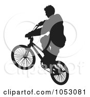 Royalty Free Vector Clip Art Illustration Of A Silhouetted Man Riding A Bike 5 by Any Vector