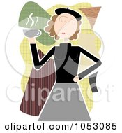 Royalty Free Vector Clip Art Illustration Of A Retro Beatnik Woman Holding Coffee