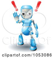 Royalty Free 3d Vector Clip Art Illustration Of A 3d Blue Robot Gesturing To Stop