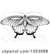 Royalty Free Vector Clip Art Illustration Of A Black And White Butterfly 4 by AtStockIllustration