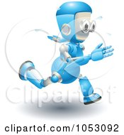 3d Blue Robot Running