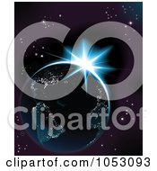 Royalty Free Vector Clip Art Illustration Of Earth Illuminated With Lights And The Sun Rising Against Outer Space by AtStockIllustration