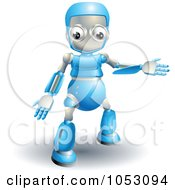 Royalty Free 3d Vector Clip Art Illustration Of A 3d Blue Robot Presenting by AtStockIllustration