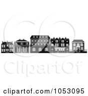 Royalty Free Vector Clip Art Illustration Of A Black And White Row Of Edwardian Victorian And Georgian House And Building Facades by AtStockIllustration