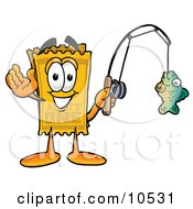 Yellow Admission Ticket Mascot Cartoon Character Holding A Fish On A Fishing Pole
