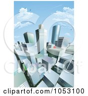 City Block Under A Blue Sky With Clouds