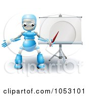 3d Blue Robot Pointing At A Roller Screen