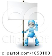 3d Blue Robot Pointing Up At A Blank Sign