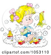 Royalty Free Vector Clip Art Illustration Of A Girl Washing Dishes